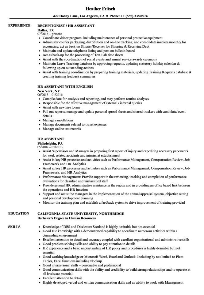 Hr Assistant Resume Samples Resume Sample