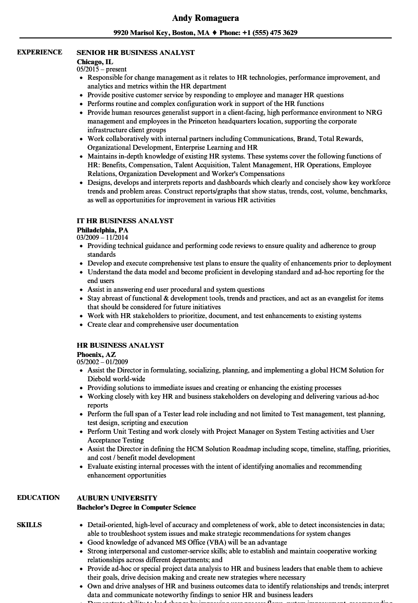 Hr Business Analyst Resume Samples Velvet Jobs Rh Velvetjobs Com Hr  Business Analyst Job Description Hr