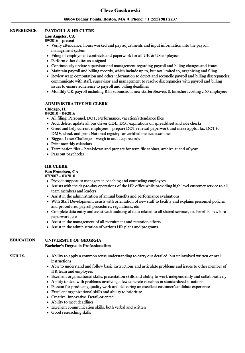 HR Clerk Resume Samples Velvet Jobs