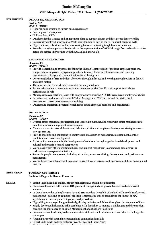 HR Director Resume Samples  Velvet Jobs