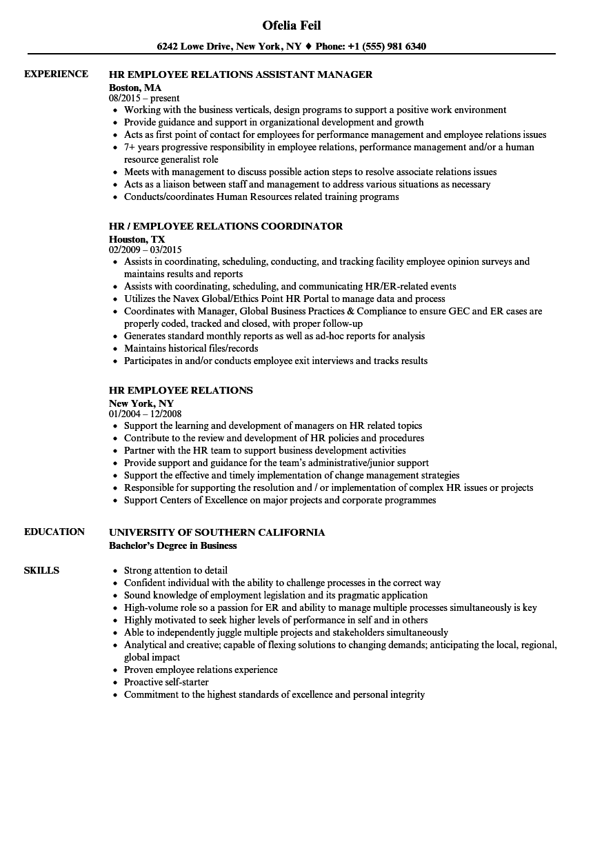 employee relations manager resume samples