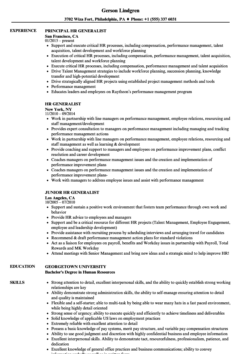 human resources sample resume monster
