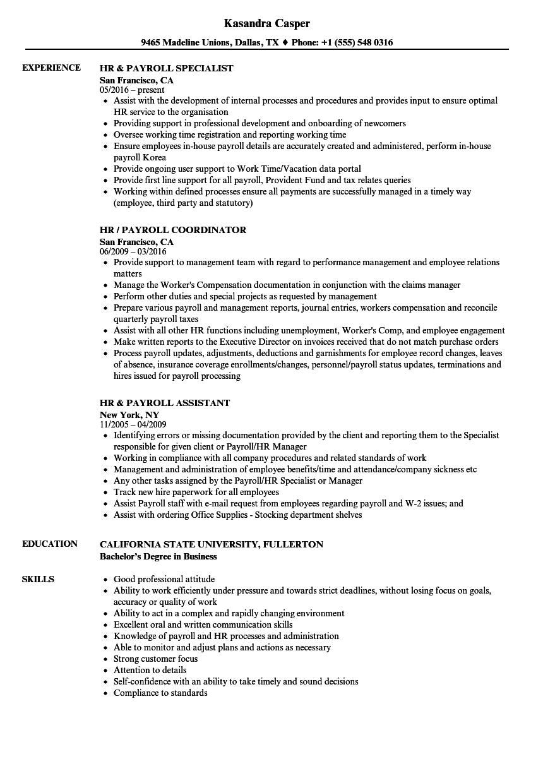 payroll clerk resume samples