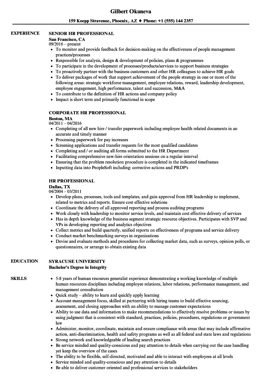 United parcel service (ups) is among the largest delivery service providers across the globe. Hr Professional Resume Samples Velvet Jobs
