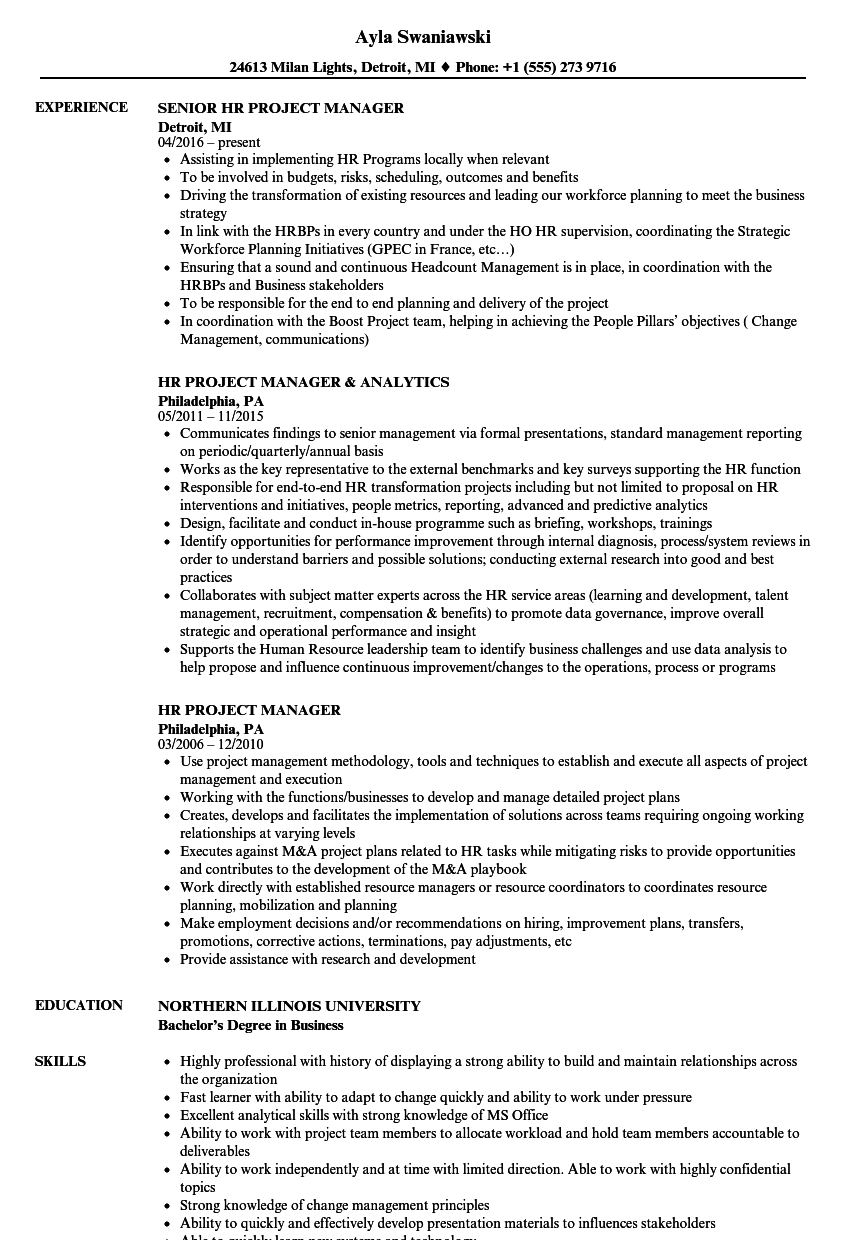 resume sample for a project manager in engineering