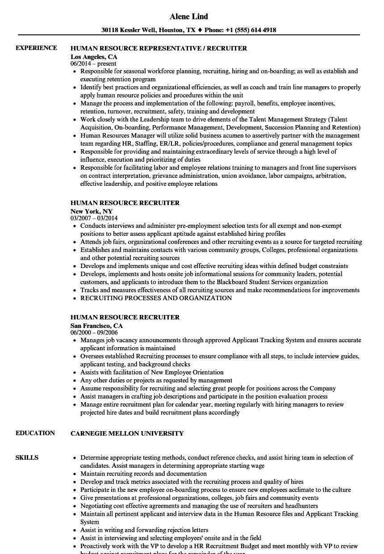 sample resume for human resources job