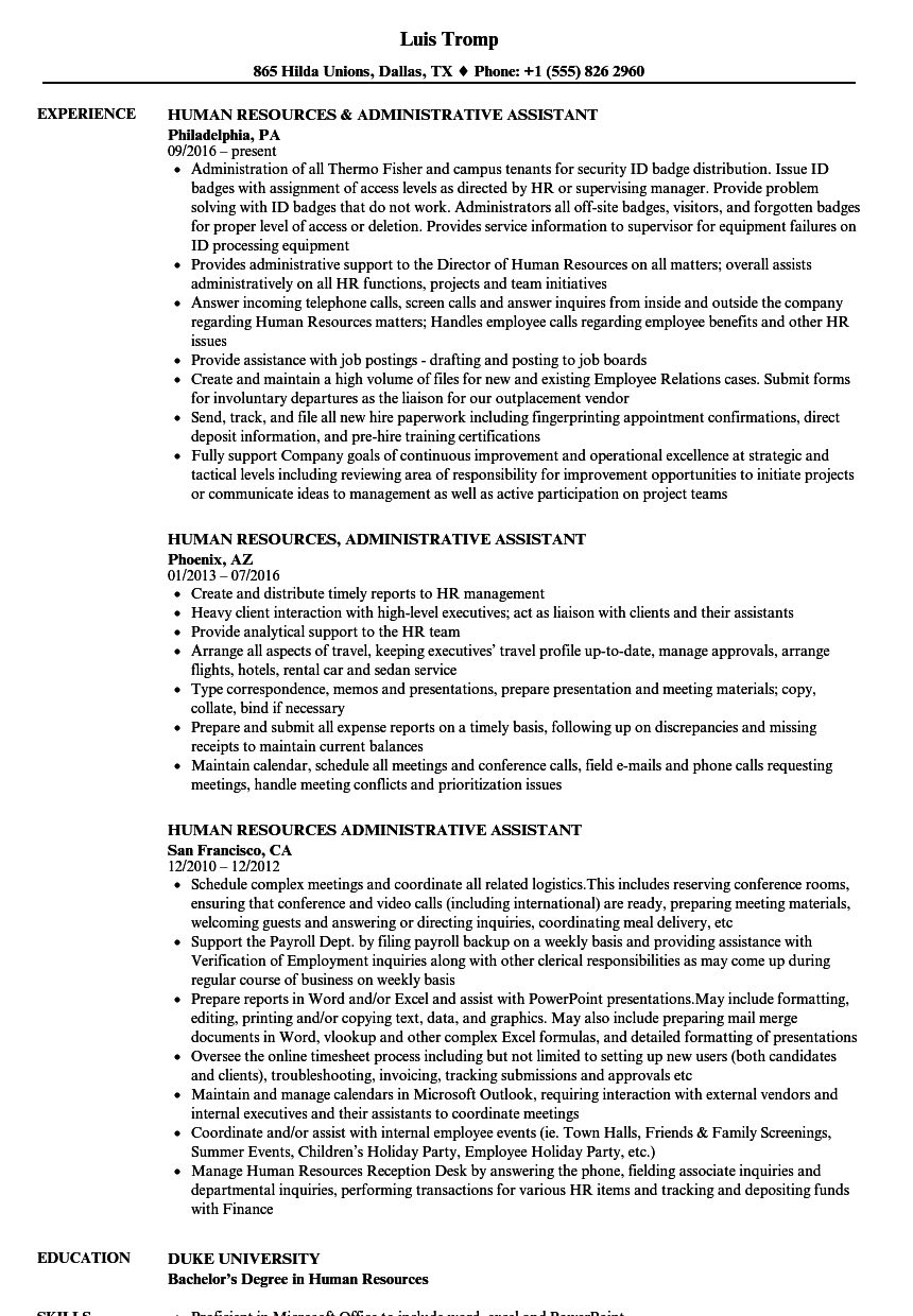 Human Resources Administrative Assistant Resume Samples  Velvet Jobs