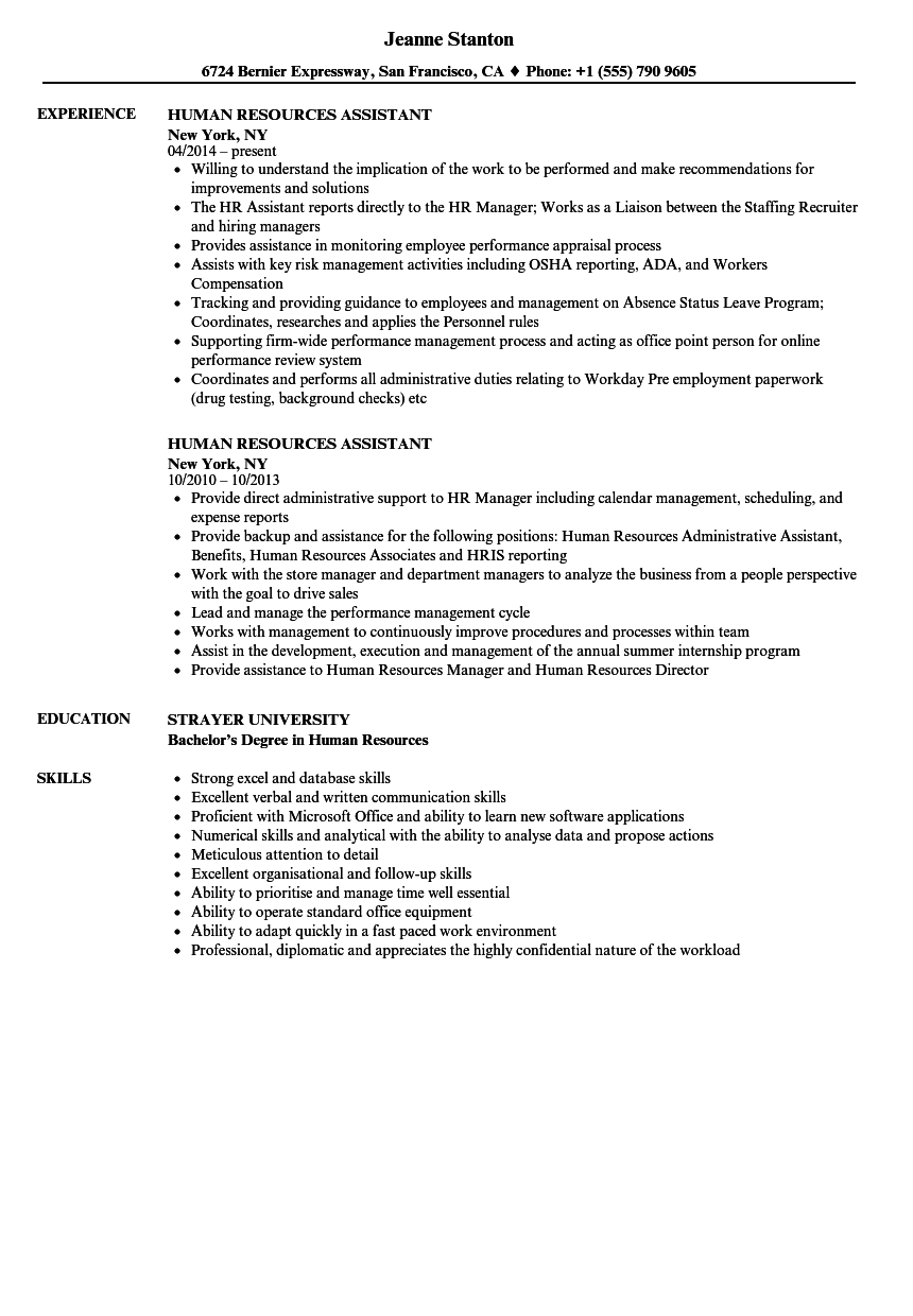 Human Resources Assistant Resume Samples Velvet Jobs