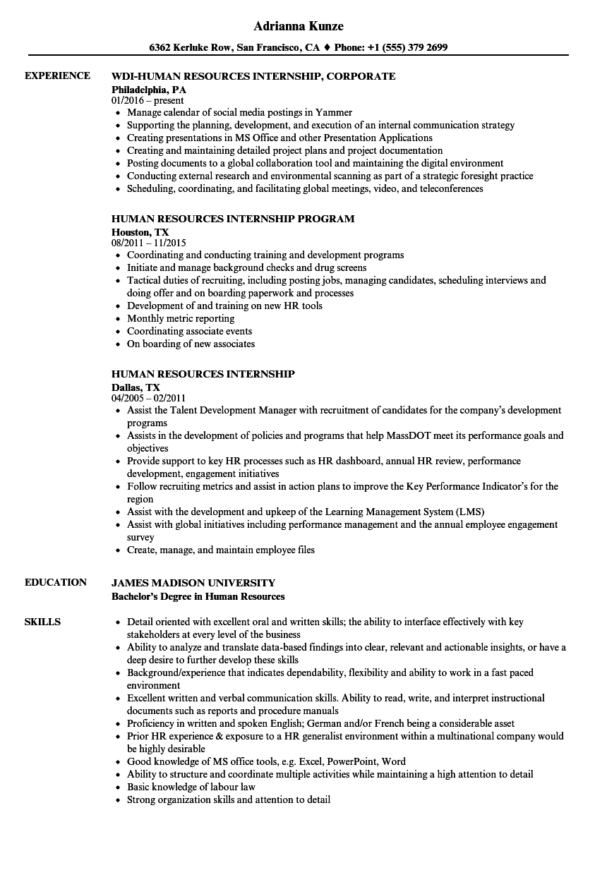 Human Resources Internship Resume Samples Velvet Jobs