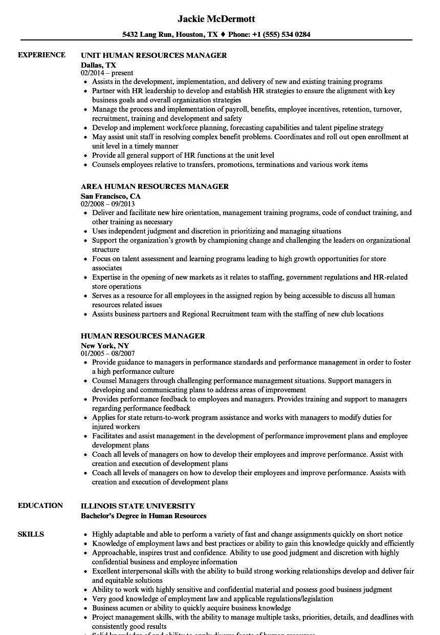 resume sample human resource manager