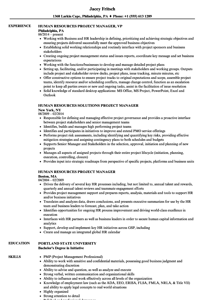 Human Resources Project Manager Resume Samples Velvet Jobs