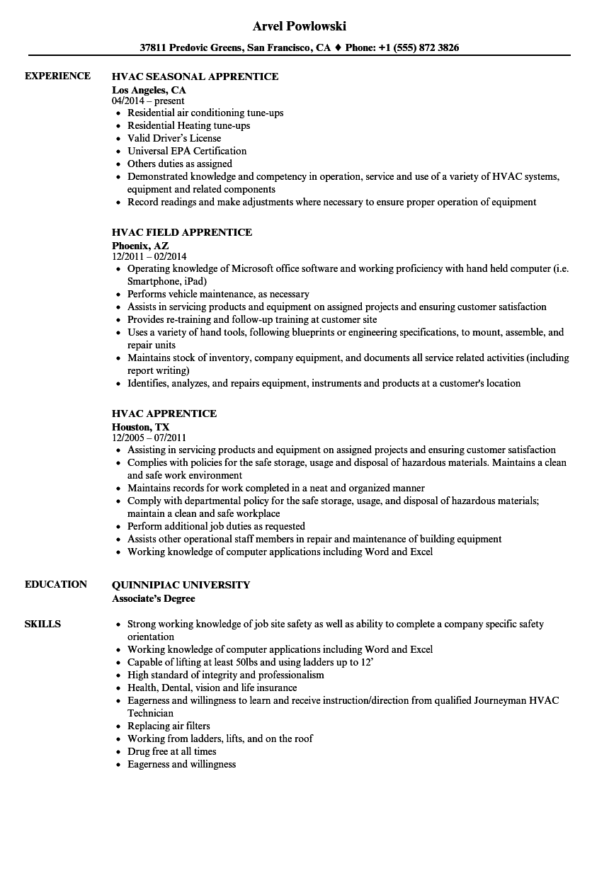 Hvac Apprentice Resume Samples  Velvet Jobs