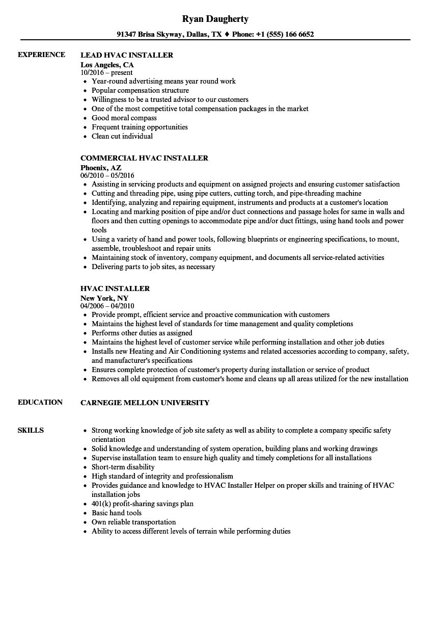 Hvac Installer Resume Resume Ideas