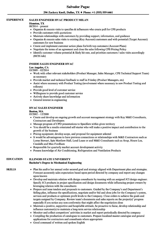 Hvac Sales Resume Examples - Resume Examples | Resume Template