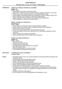 Hydraulic Technician Resume Samples | Velvet Jobs