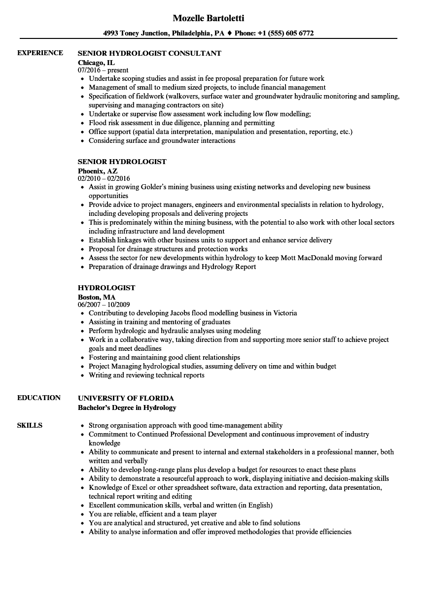 Hydrologist Resume Samples Velvet Jobs