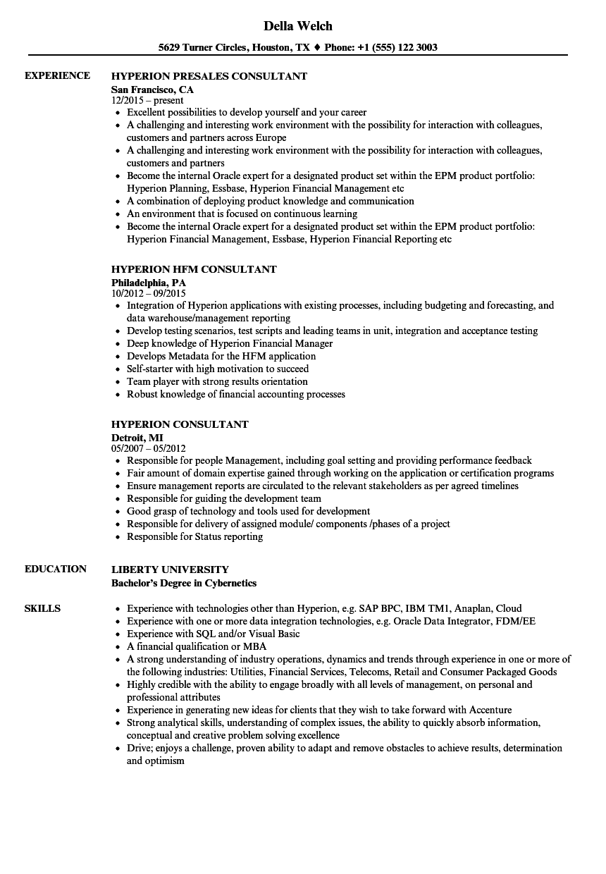 hyperion developer resume sample
