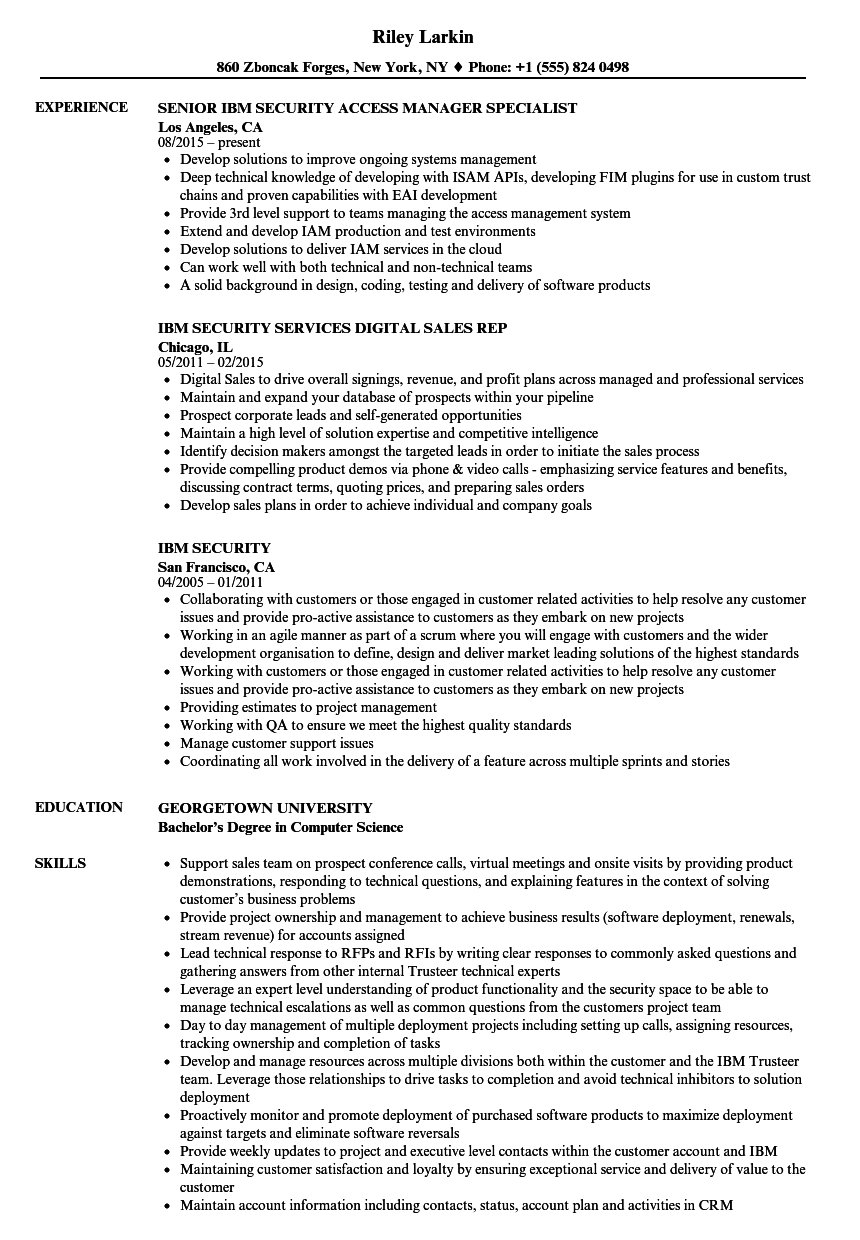 IBM Security Resume Samples Velvet Jobs