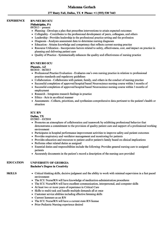 Icu Rn Resume Samples  Velvet Jobs