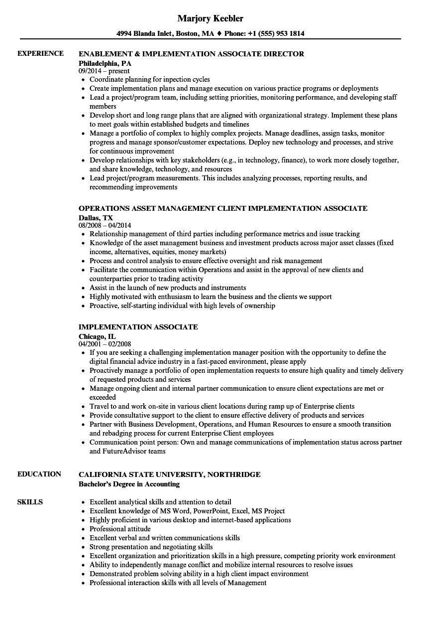 corporate associate resume sample