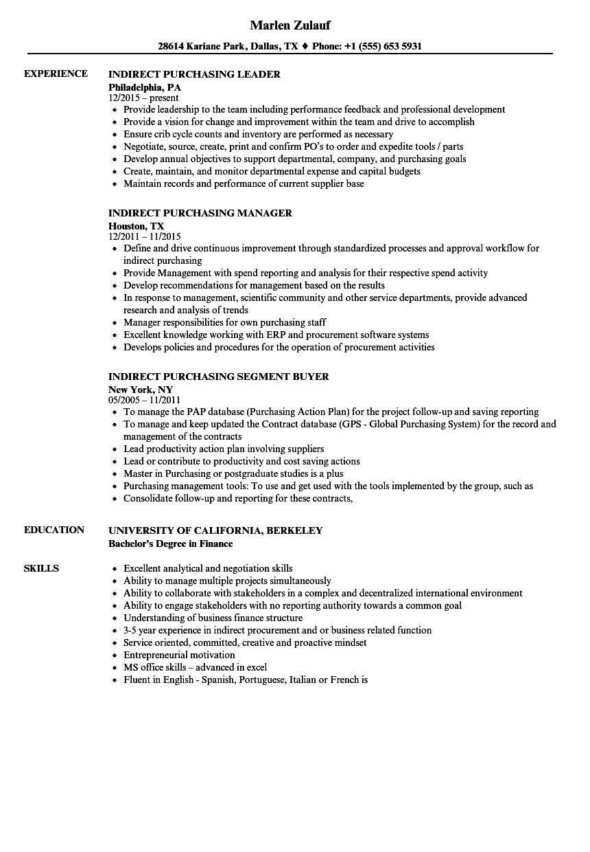 Indirect Purchasing Resume Samples  Velvet Jobs