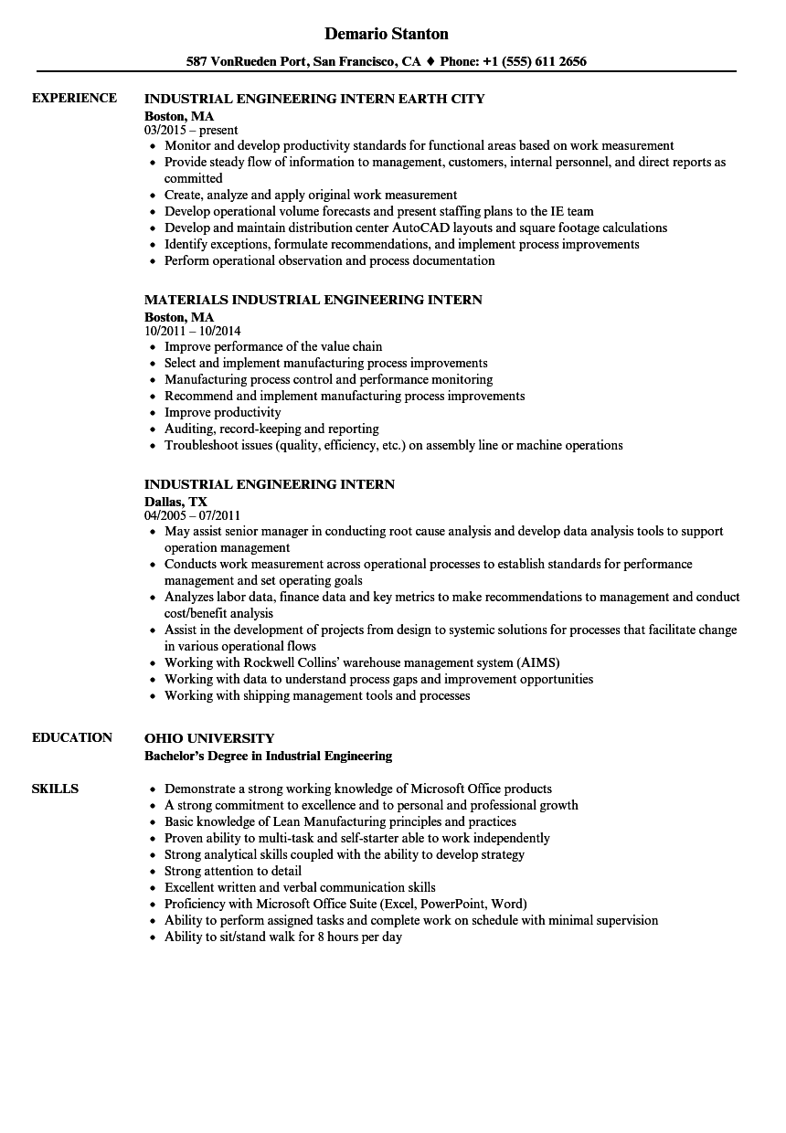 Industrial Engineering Intern Resume Samples Velvet Jobs