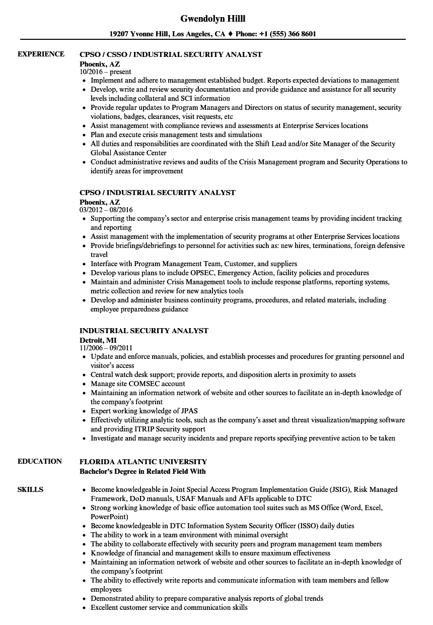 sample security analyst resume
