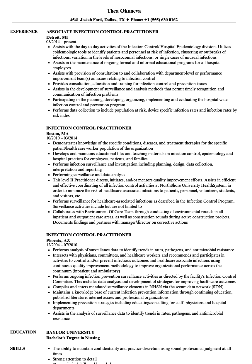 Infection Control Practitioner Resume Samples Velvet Jobs