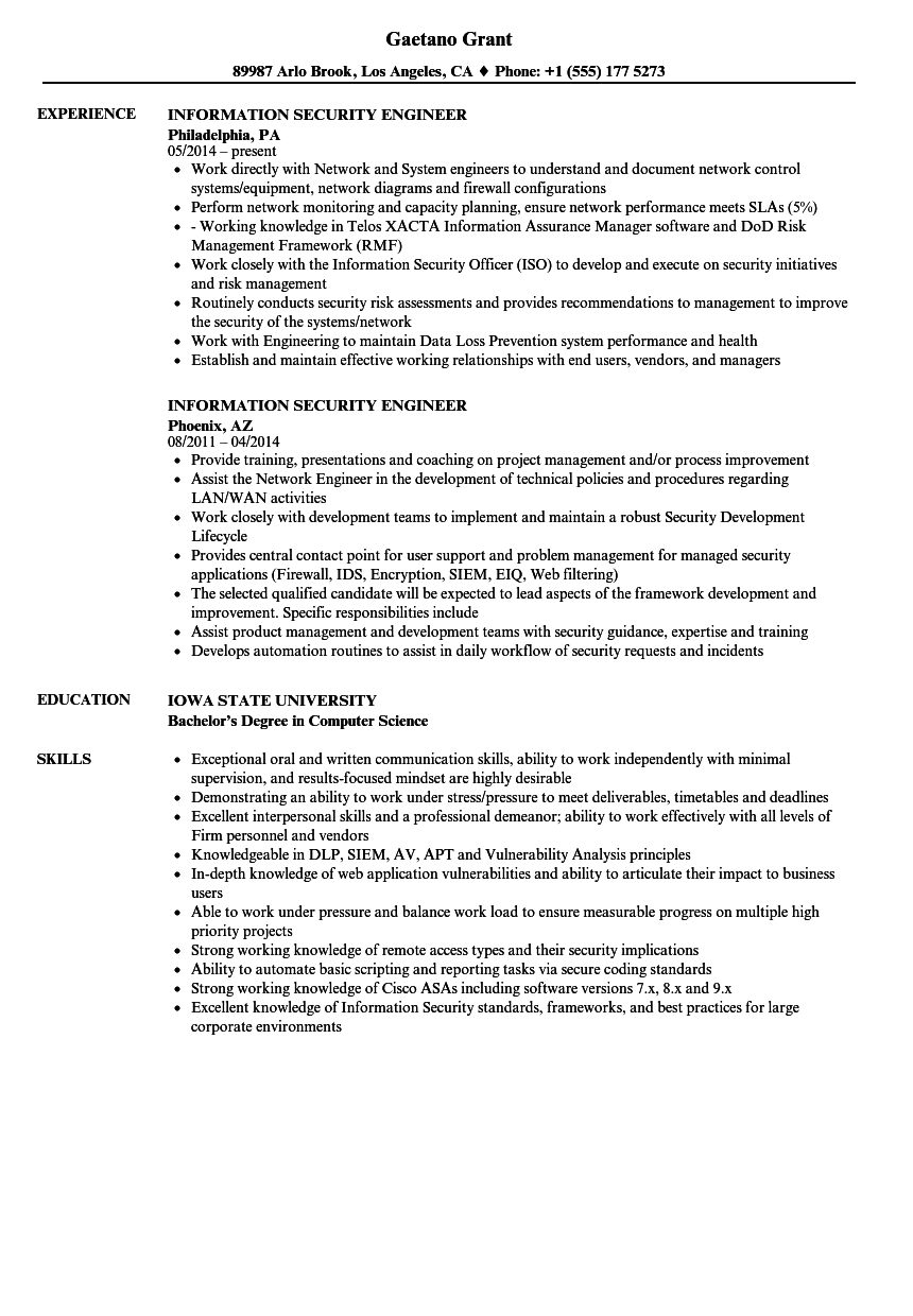 Download Information Security Engineer Resume Sample As Image File