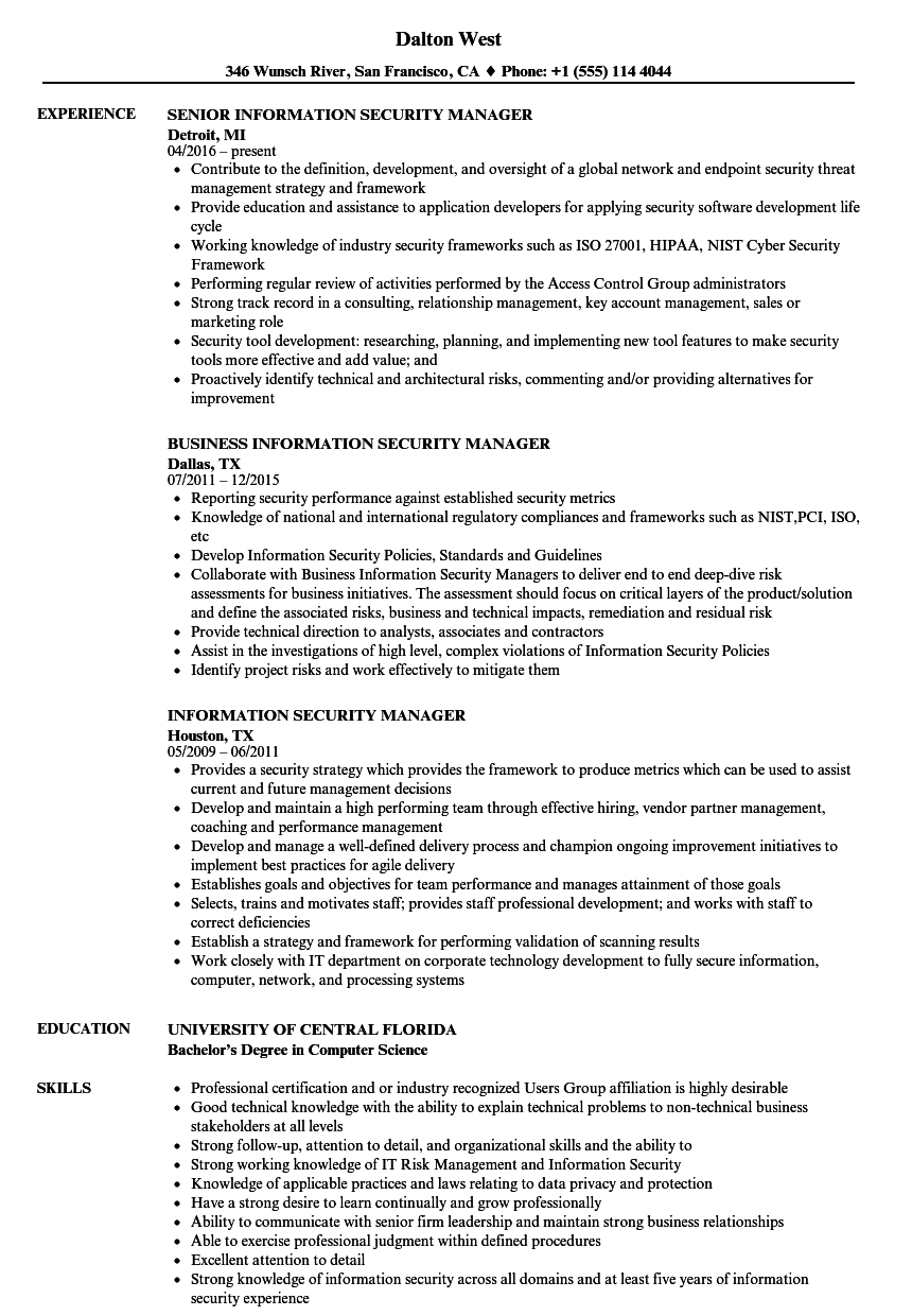 information security manager resume