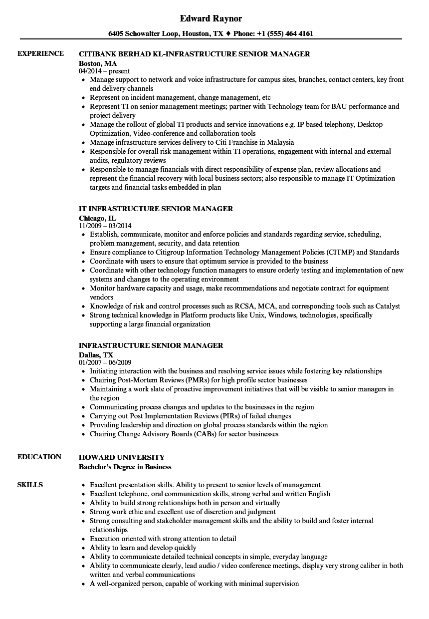Infrastructure Senior Manager Resume Samples Velvet Jobs