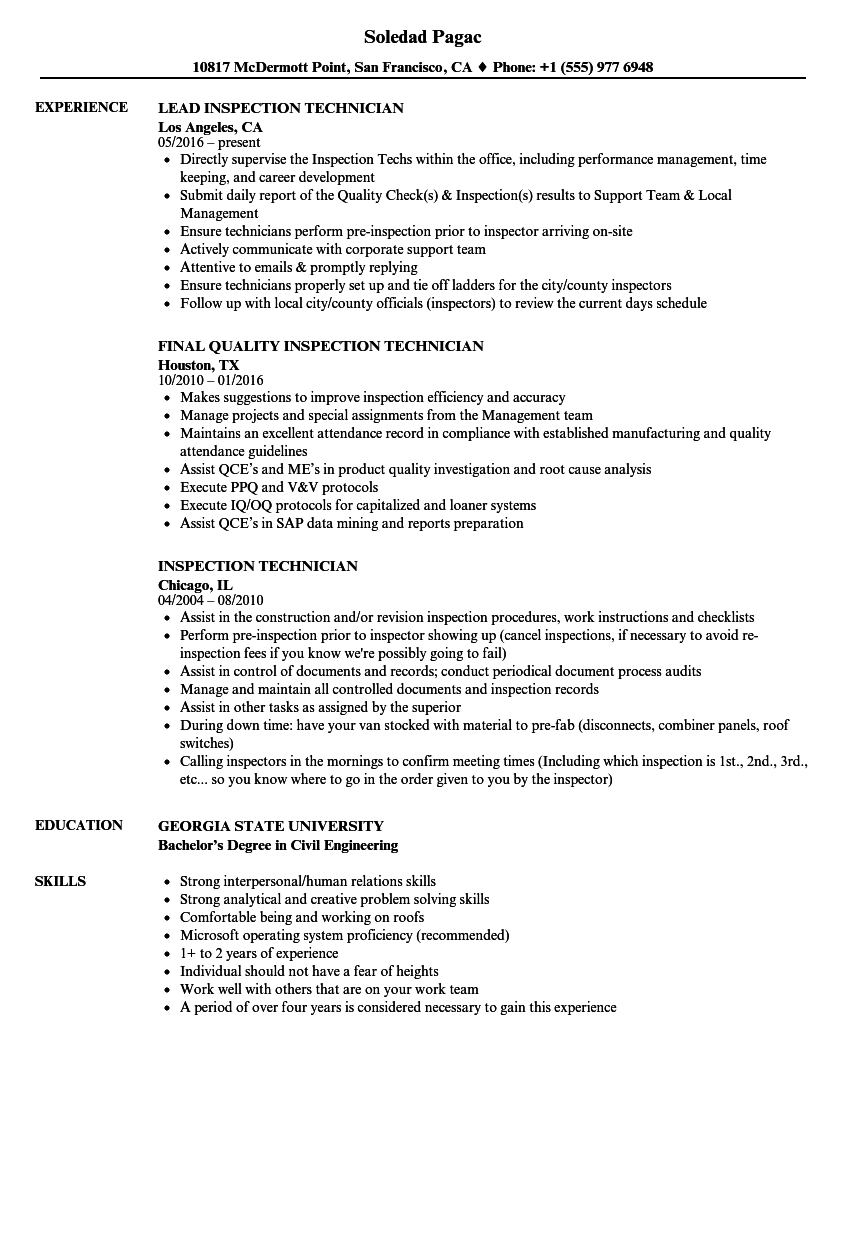 Inspection Technician Resume Samples  Velvet Jobs