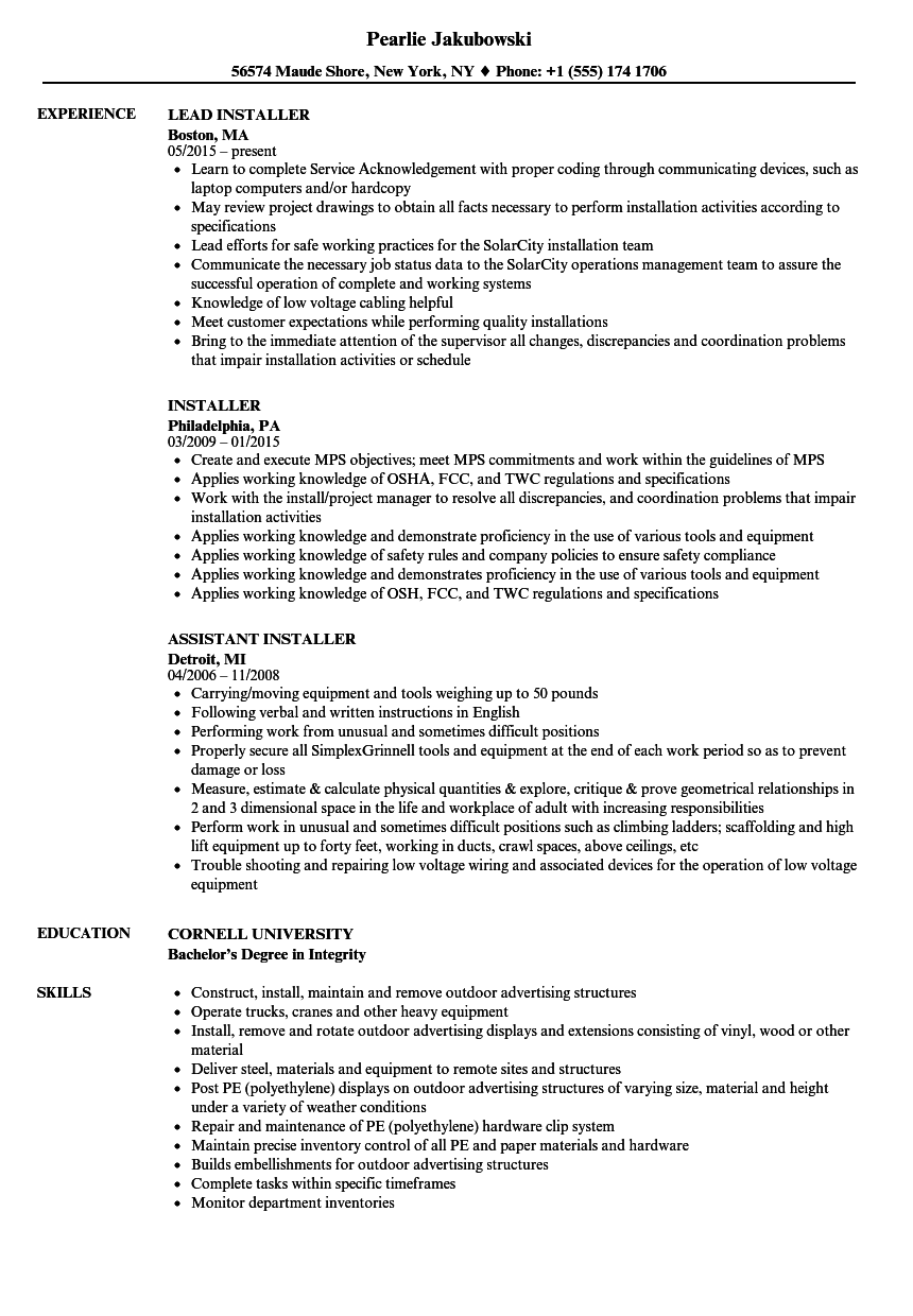 Installer Resume Samples  Velvet Jobs