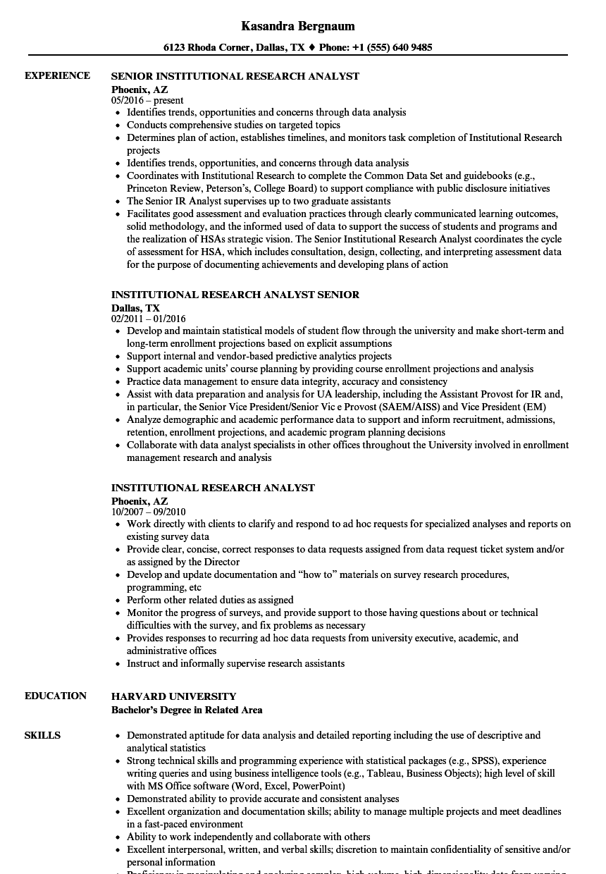 Institutional Research Analyst Resume Samples Velvet Jobs