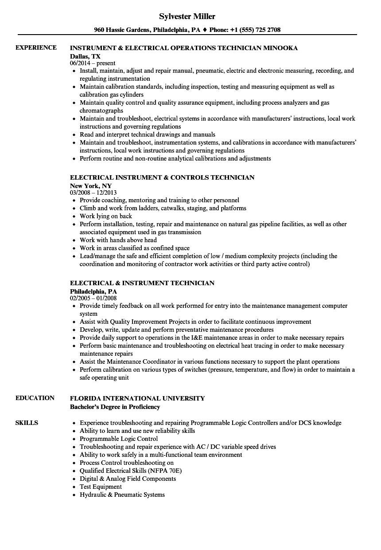 Instrument Electrical Resume Samples Velvet Jobs