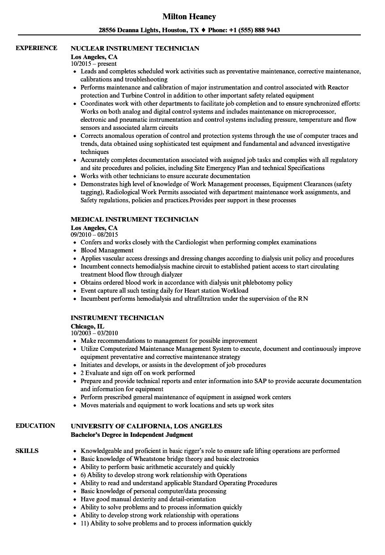 Instrument Technician Resume Samples  Velvet Jobs