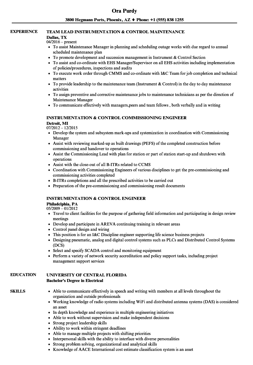hight resolution of download instrumentation control resume sample as image file