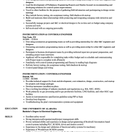 download instrumentation controls engineer resume sample as image file [ 860 x 1240 Pixel ]