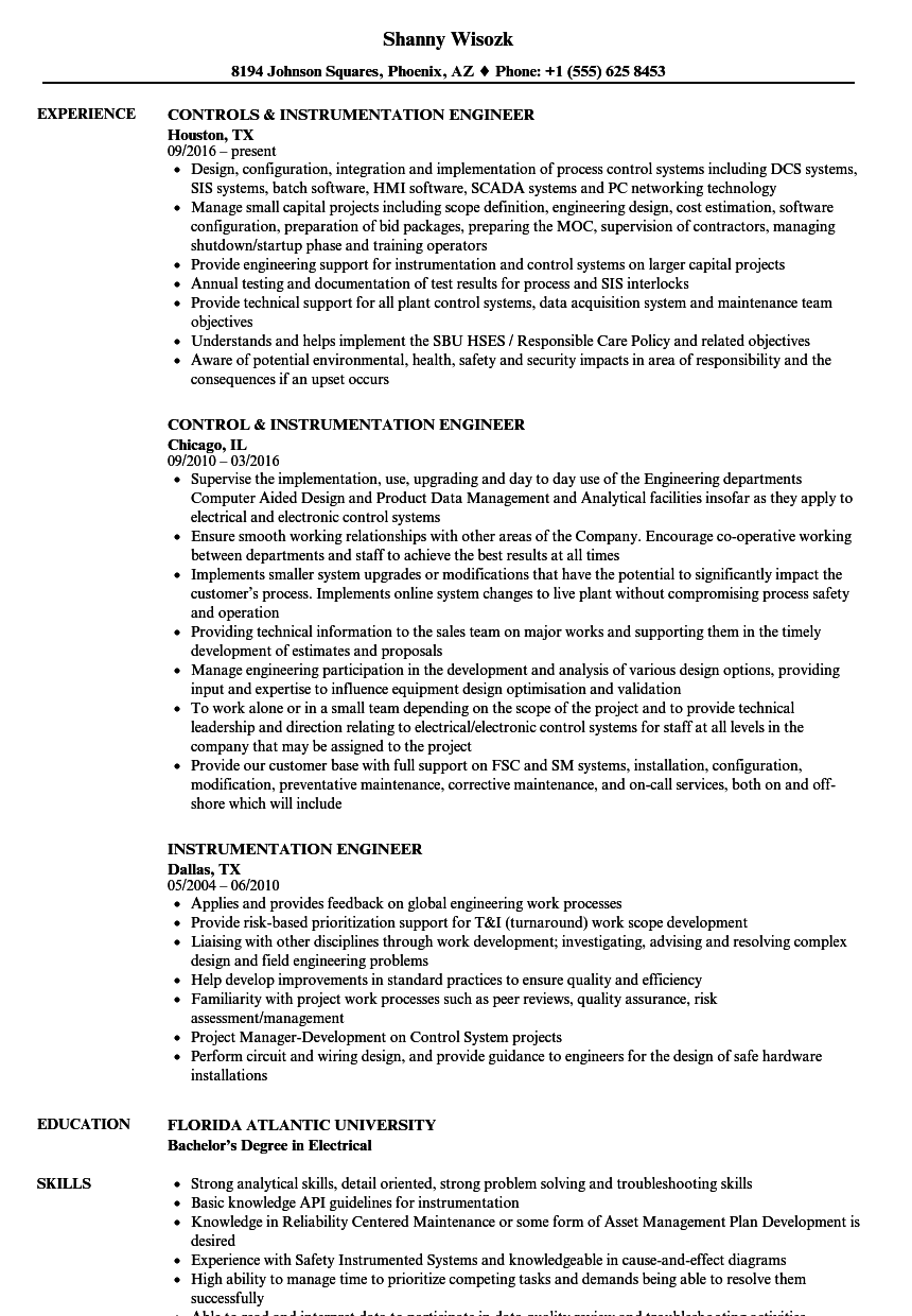 sample instrumentation enginnering technology resume