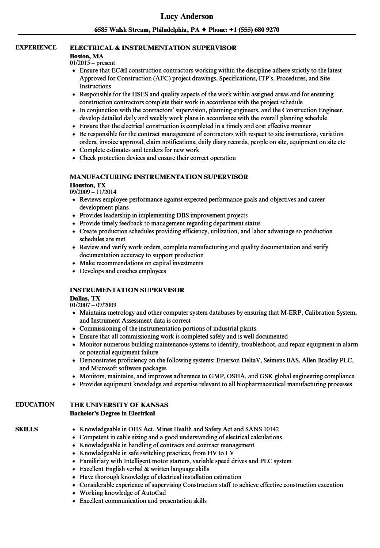 Instrumentation Supervisor Resume Samples  Velvet Jobs