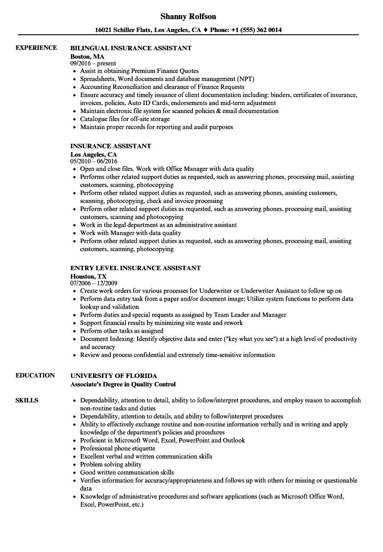 Insurance Assistant Resume Samples Velvet Jobs