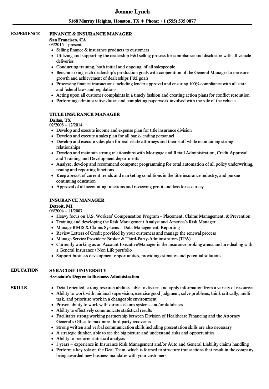 Insurance Manager Resume Samples Velvet Jobs