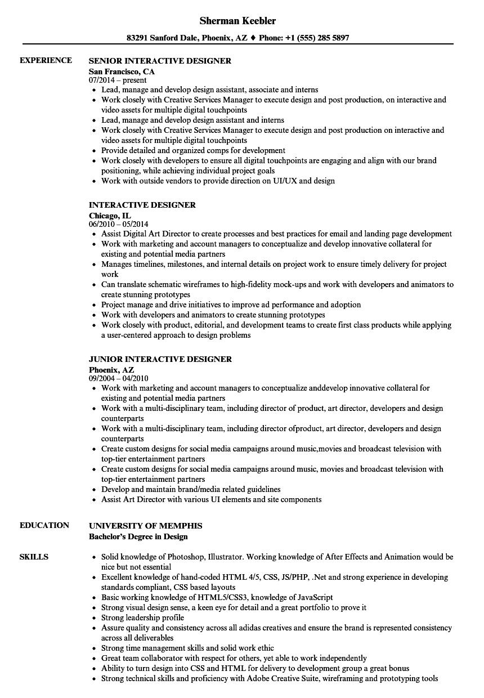 interactive resume samples