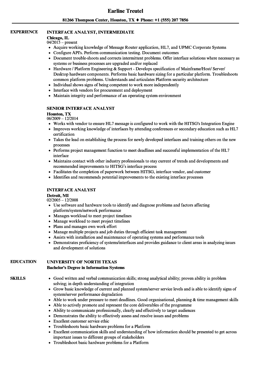 Interface Analyst Resume Samples Velvet Jobs