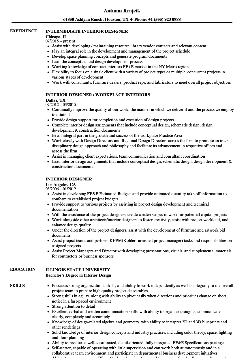 related skills of a interior decorator resume samples