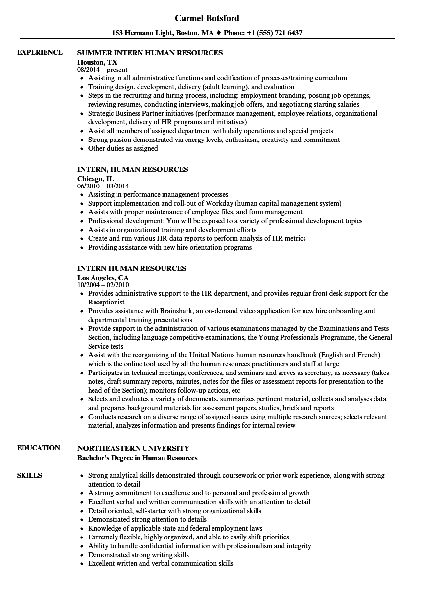 resume sample human resources assistant