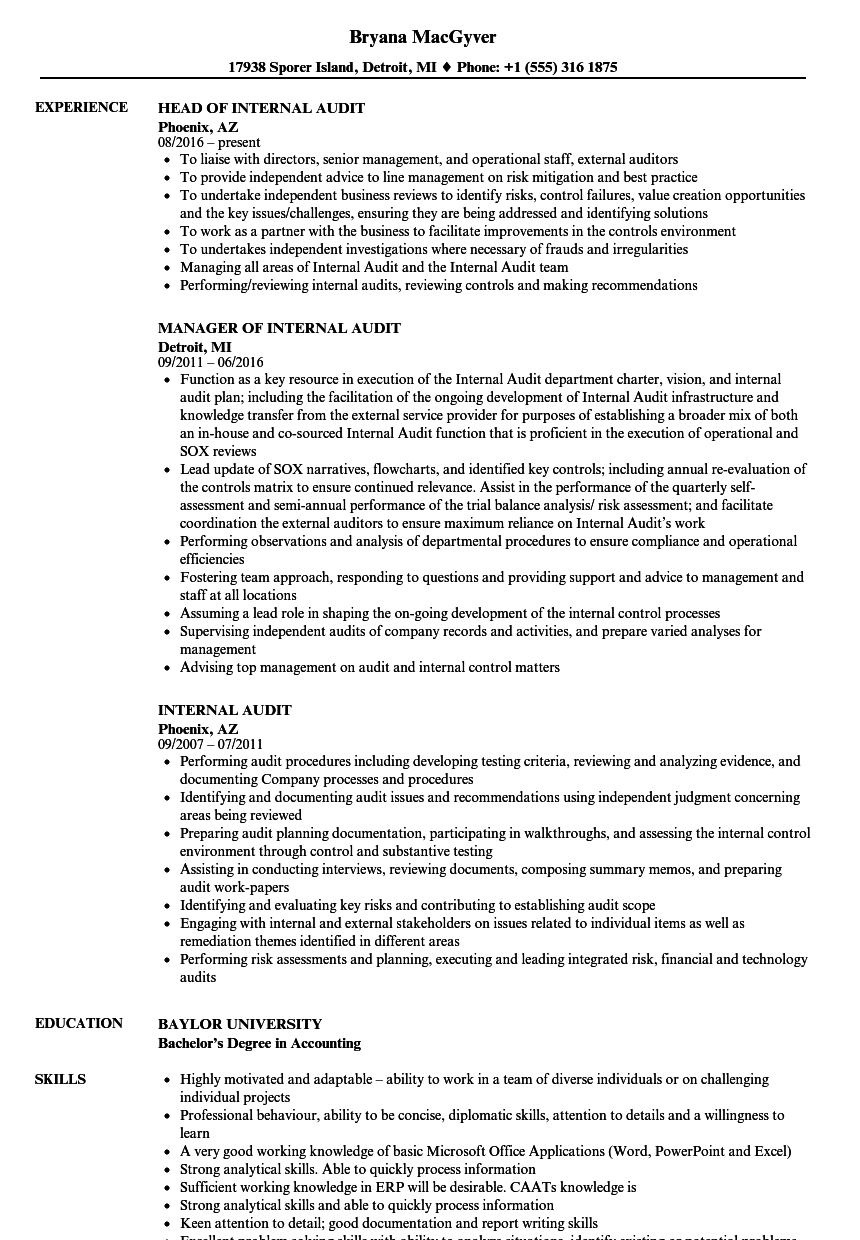 resumes for internal