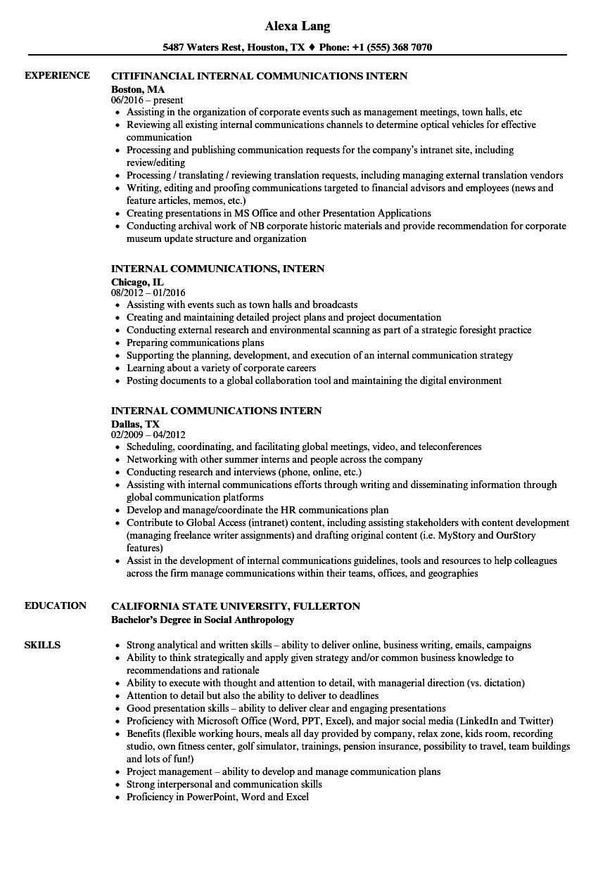 Internal Communications Intern Resume Samples Velvet Jobs
