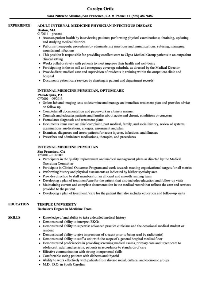 internal medicine physician resume samples velvet jobs - Physician Resume Sample