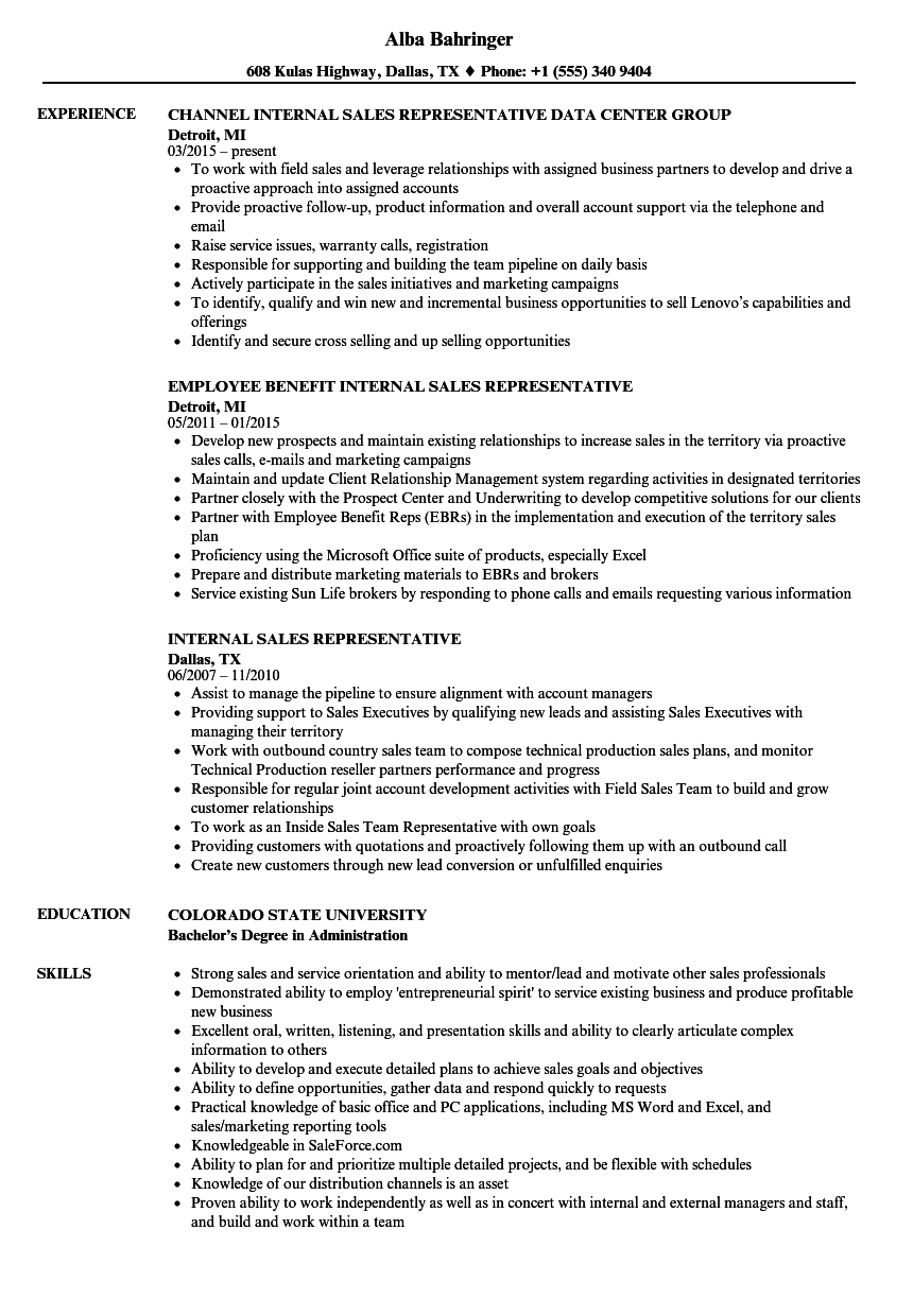 examples of a internal resume
